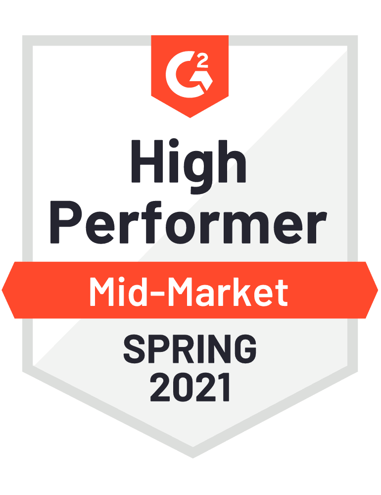 High Performer Mid-Market Spring 2021 - G2 Badge to Cooleaf, top employee experience management software