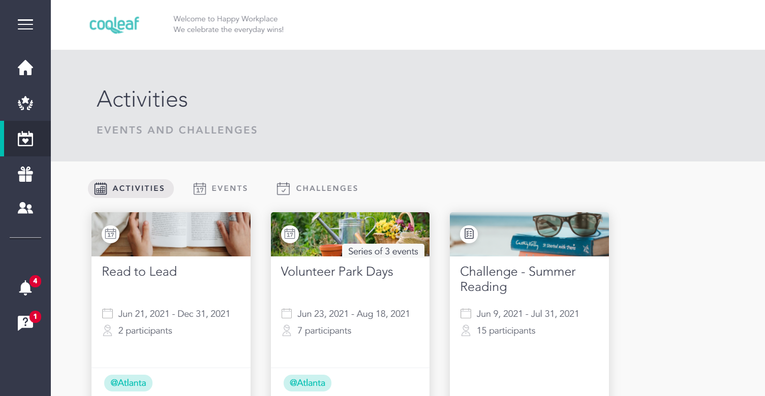 Dashboard for DEI activities on Cooleaf's experience platform