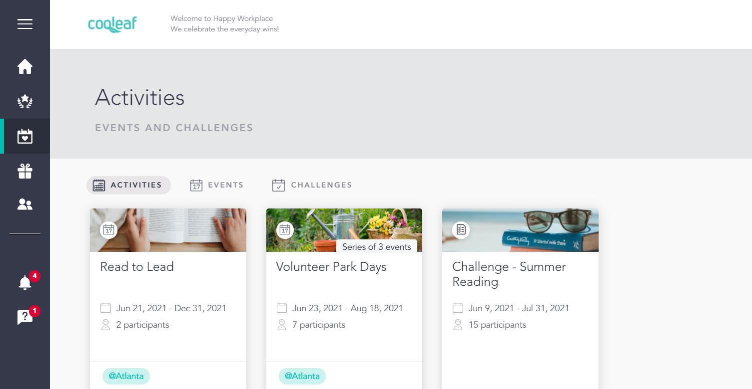 Using Cooleaf's customer service incentive program to organize motivating team challenges