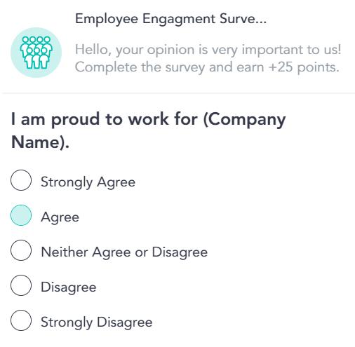Professional development surveys on Cooleaf's employee incentive platform