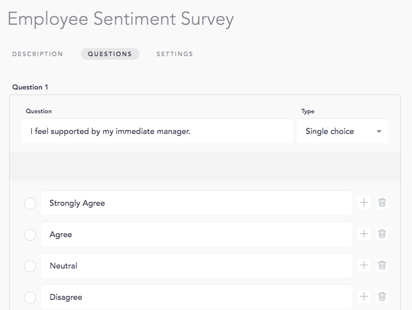 Example of a question for your employee sentiment survey using Cooleaf's pulse survey software