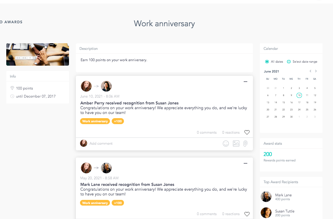 Work anniversary dashboard on Cooleaf's corporate gifting software