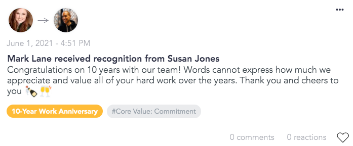 Using Cooleaf's corporate giftingsoftware to send anniversary awards to team members