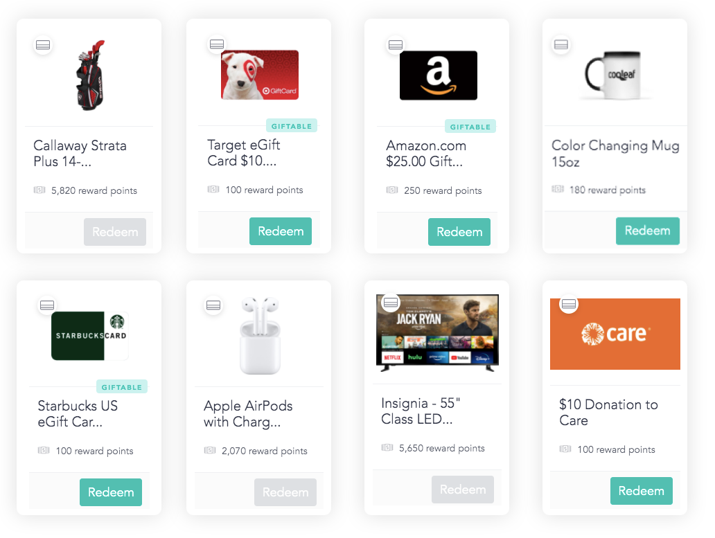 Gift cards on the Cooleaf platform to inspire employees with spot incentives or gift cards