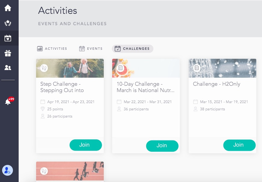 Events and challenges dashboard on Cooleaf's employee engagement platform.