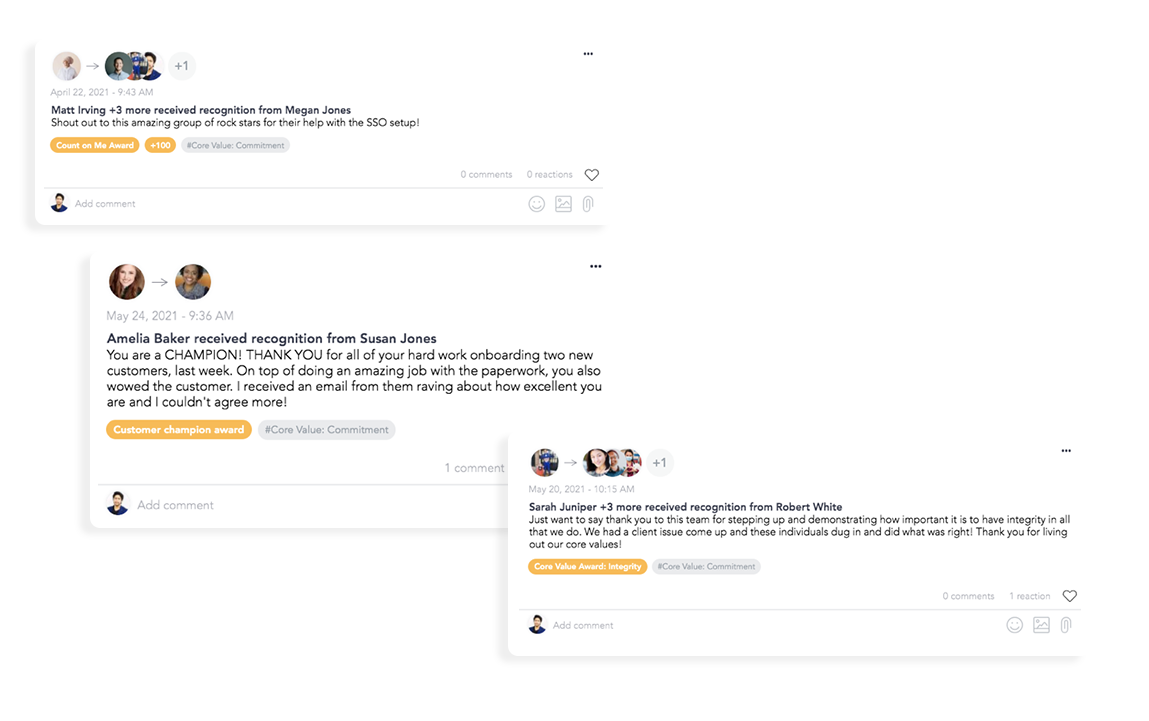 Examples of manager and peer recognitions on Cooleaf's employee engagement platform
