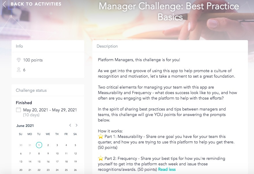 Managers interactive challenges calendar designed by Cooleaf's HR engagement software