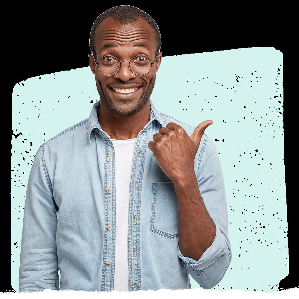 Man in blue denim shirt using Cooleaf's pulse survey software