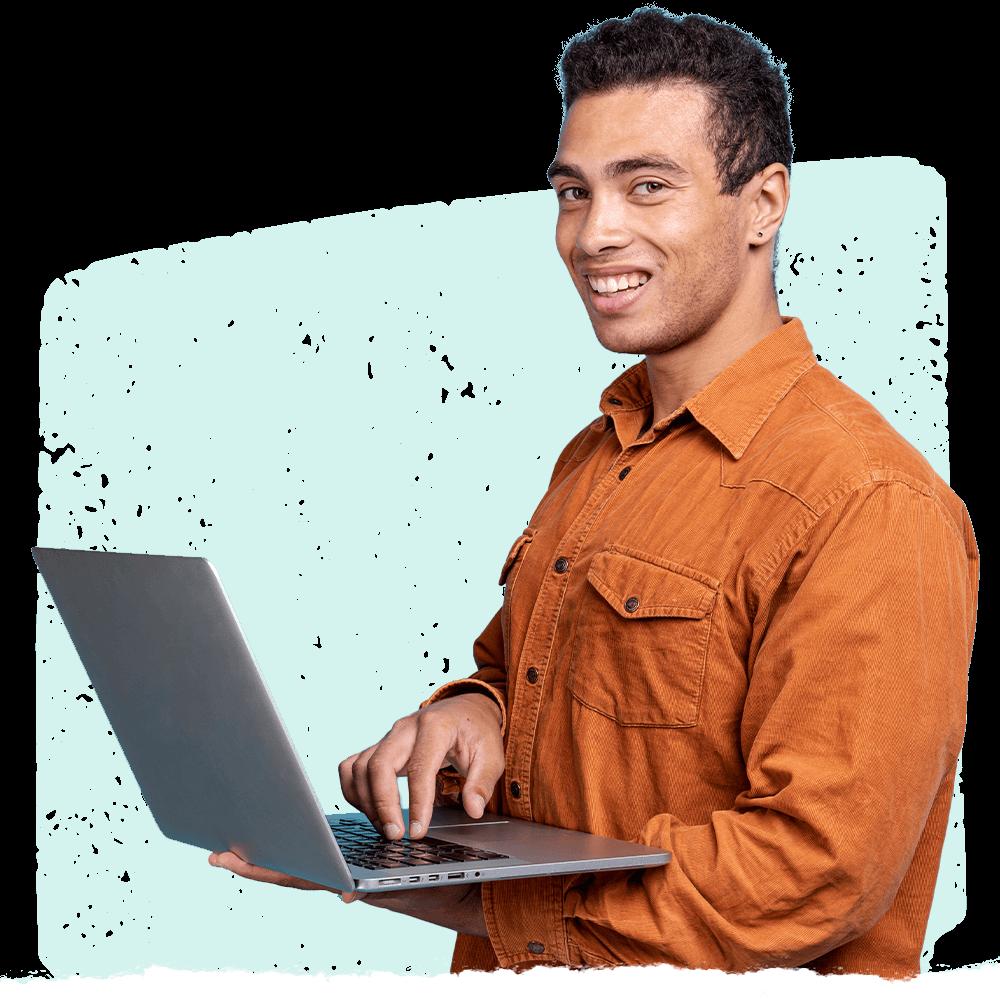 Man in orange shirt utilizing Cooleaf's corporate gifting software