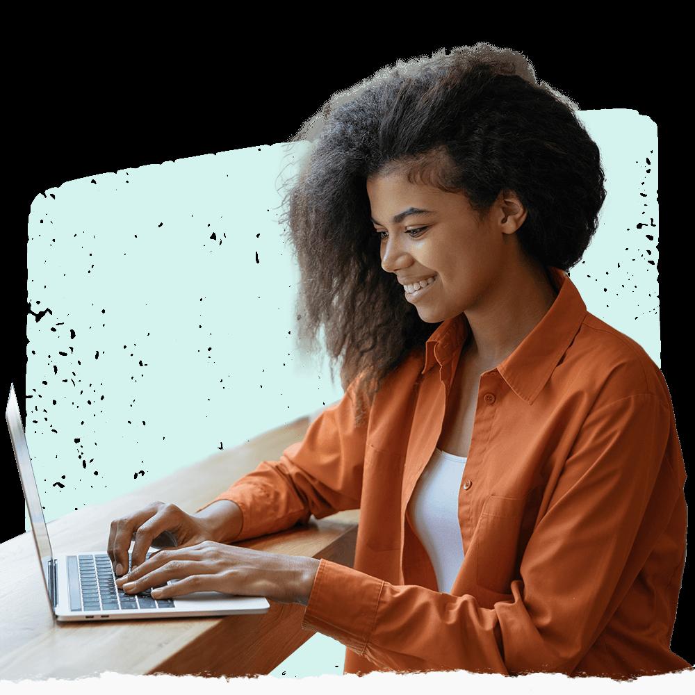 A girl using Cooleaf's customer service feedback software