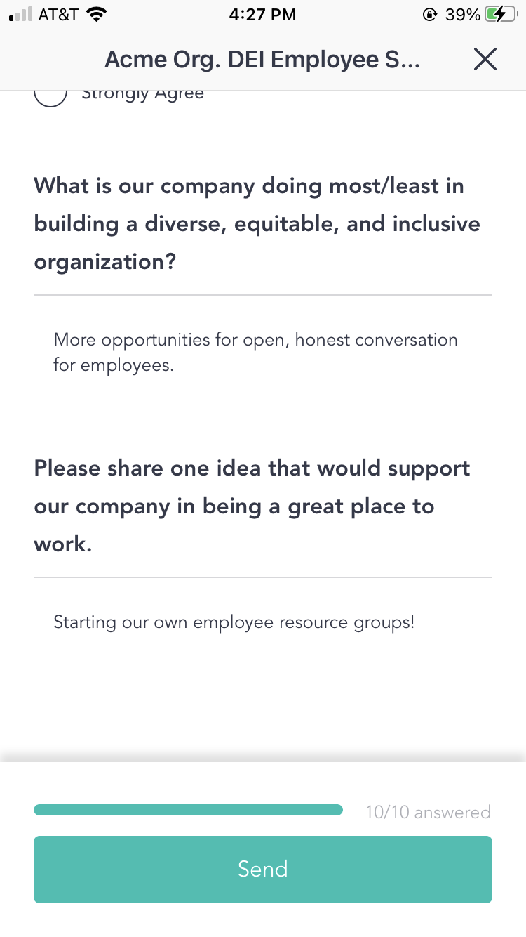 Submit feedback on policies using Cooleaf's diversity equity and inclusion survey questions