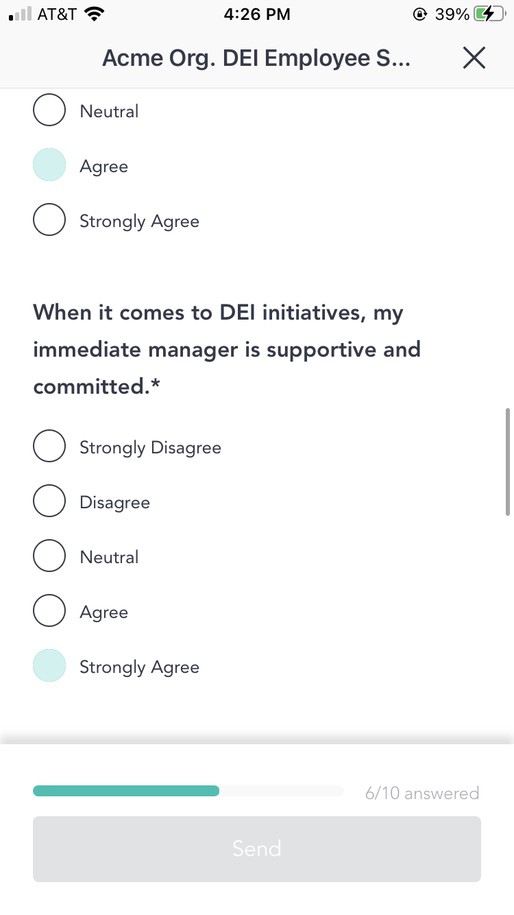 Employees provide anonymous feedback through pulse surveys in Cooleaf's DEI program