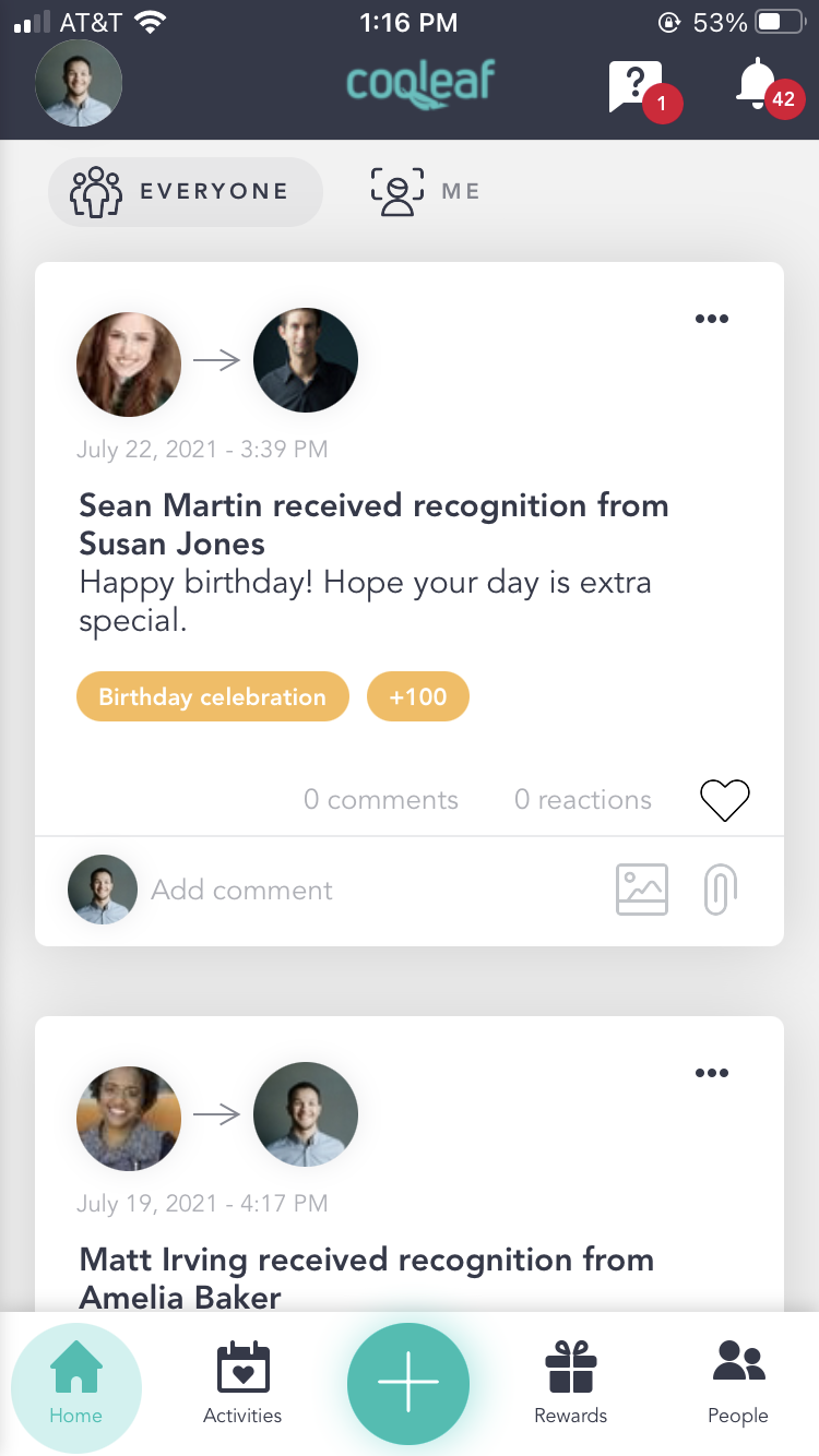 Example of Cooleaf's recognition feed which helps teams members show appreciation and connect