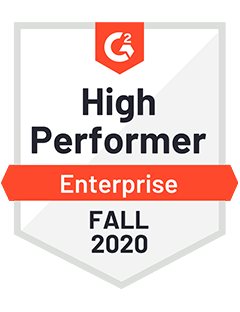 High Performer Enterprise Fall 2020 - G2 Badge to Cooleaf,  intuitive employee experience management platform