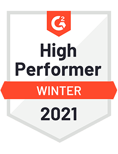 High Performer Winter 2021 - G2 Badge to Cooleaf, popular employee experience management app
