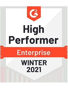 High Performer Enterprise Winter 2021 - G2 Badge to Cooleaf, leading employee experience management platform