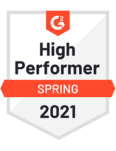 High Performer Spring 2021- G2 Badge to Cooleaf, best employee experience management software