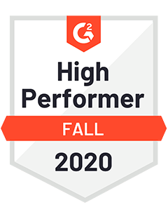 High Performer Fall 2020 - G2 Badge to Cooleaf, leading customer & employee engagement app