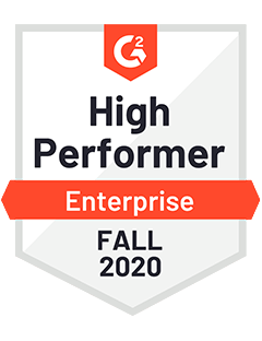 High Performer Enterprise Fall 2020 - G2 Badge to Cooleaf, trusted customer & employee engagement software