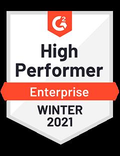 High Performer Enterprise Winter 2021 - G2 Badge to Cooleaf,  trusted customer & employee engagement saas