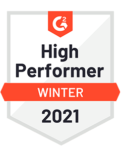 High Performer Winter 2021 - G2 Badge to Cooleaf, top-rated customer & employee engagement saas