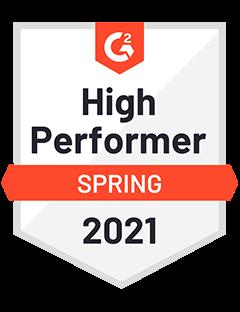 High Performer Spring 2021- G2 Badge to Cooleaf, reliable customer & employee engagement software platform