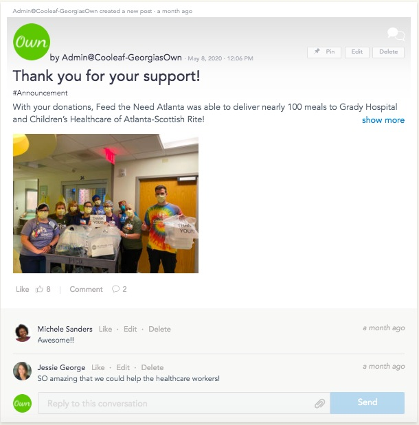 Virtual workplace giving campaign brings employees together