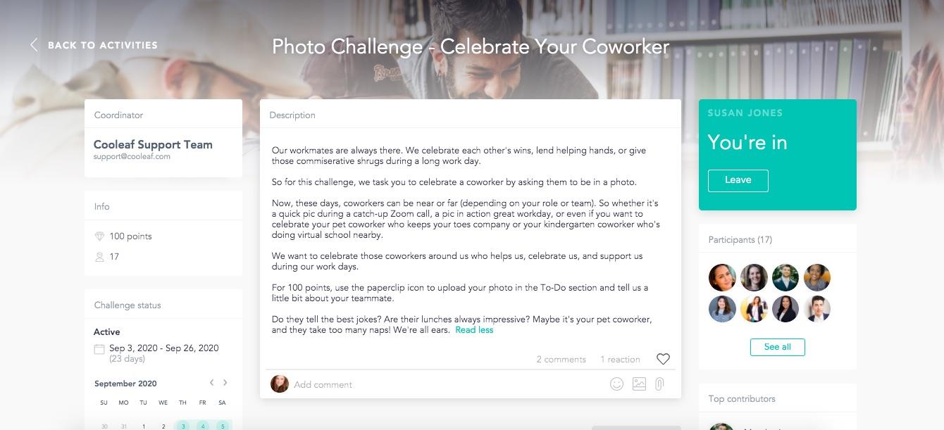 Cooleaf virtual activity photo challenge