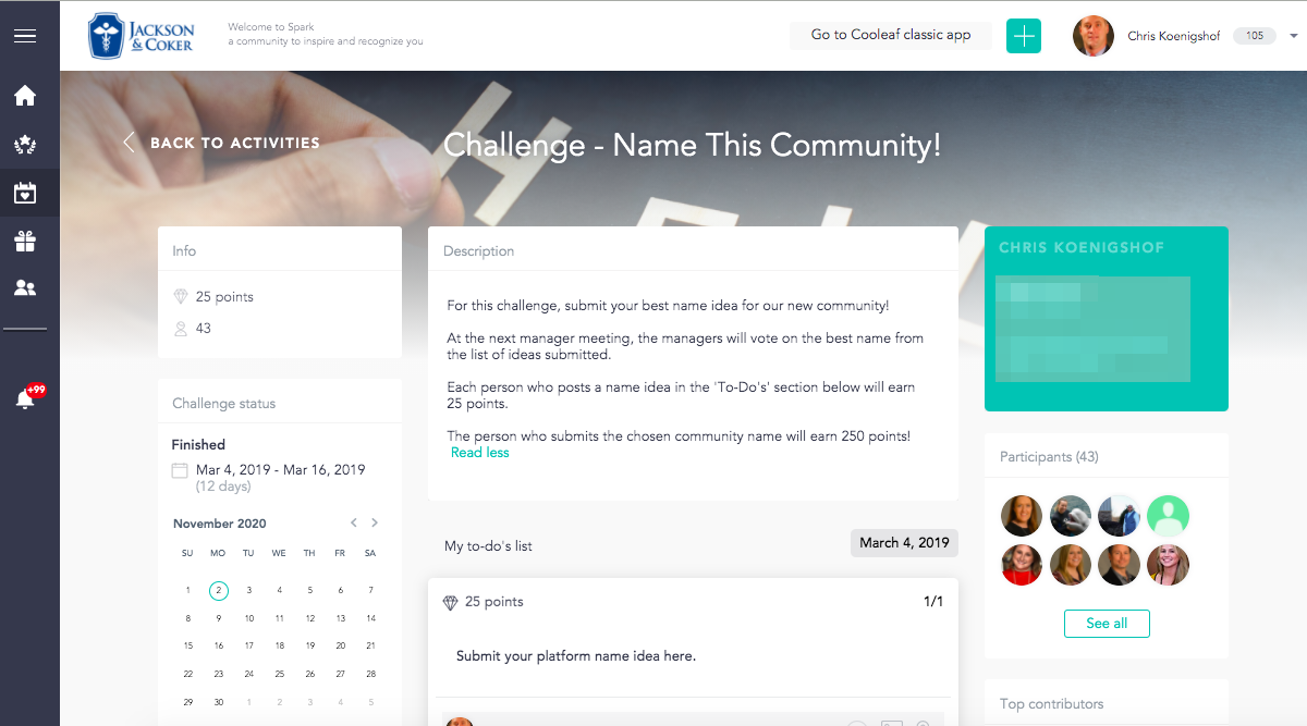 Name this community challenge on Cooleaf