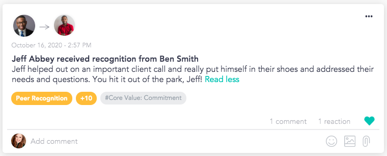 Bring organizational values to life with peer-to-peer recognition