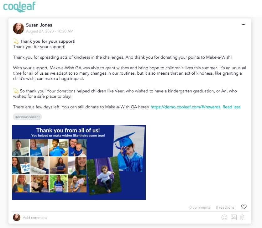 Cooleaf thank-you to employees who participated in the Make-a-Wish virtual giving campaign