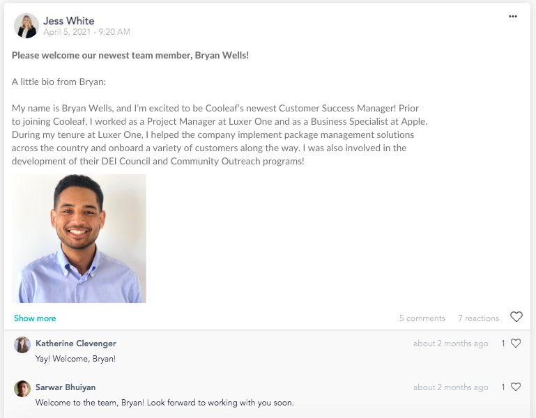 Welcome new virtual team members and introduce them to the team