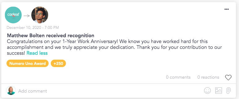 Celebrate employee work anniversaries and milestones with automated rewards