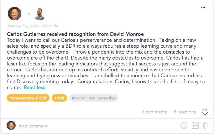 Sales recognition from manager to team member