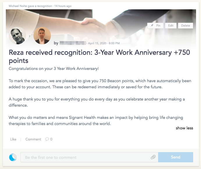 Employee work anniversary recognition and custom thank-you message