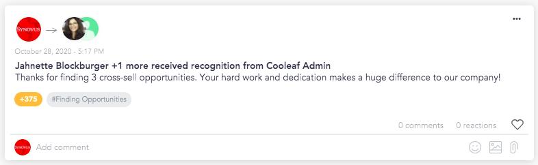Cooleaf peer recognition for leading behaviors
