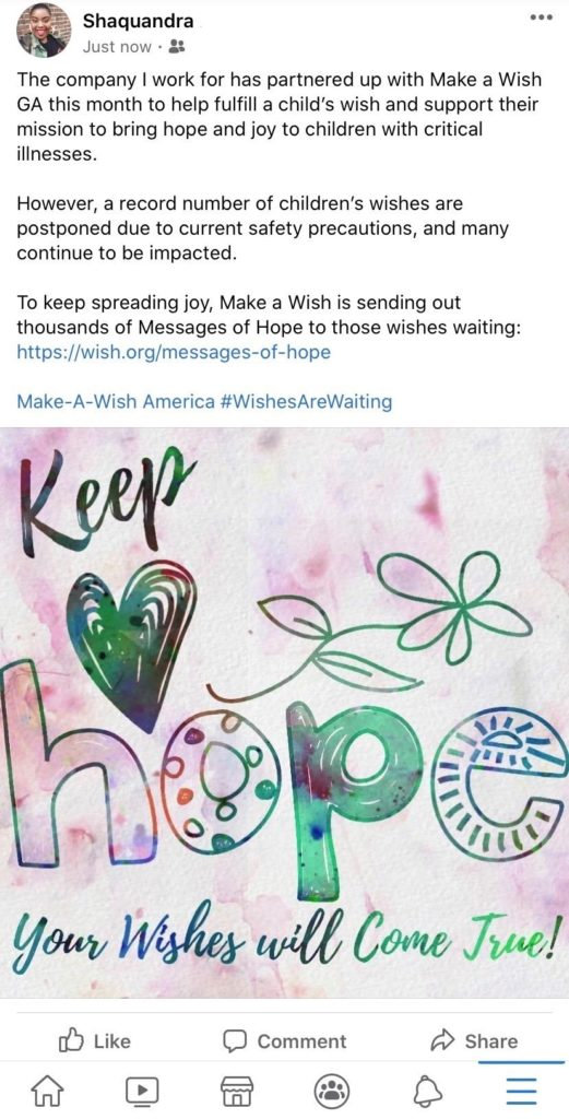 Team members participate in workplace giving by raising awareness for charities on social media