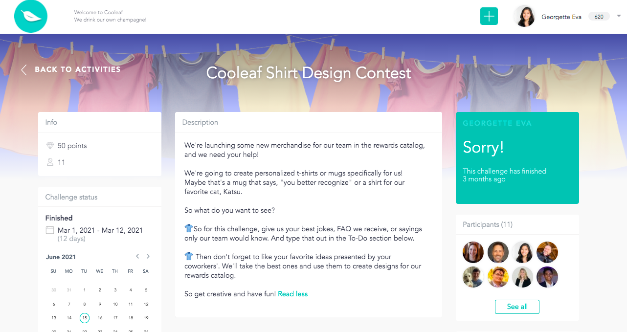T-shirt design contest for employee engagement.