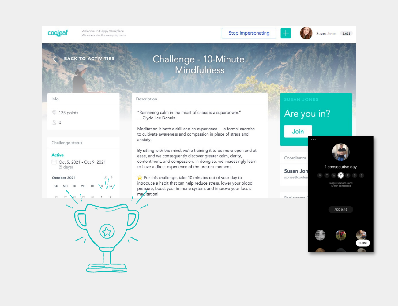 Cooleaf Meditation Challenges Integrate with Headspace and Peloton