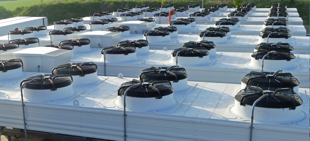 Refrigeration fans on rooftop