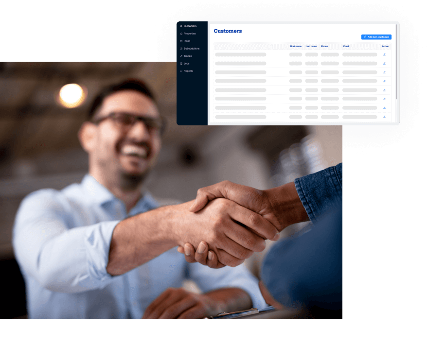 A smiling man shaking hand with another. A mockup of the admin dashboard floating on top.