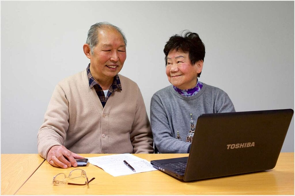 English Language Partners' students learning online