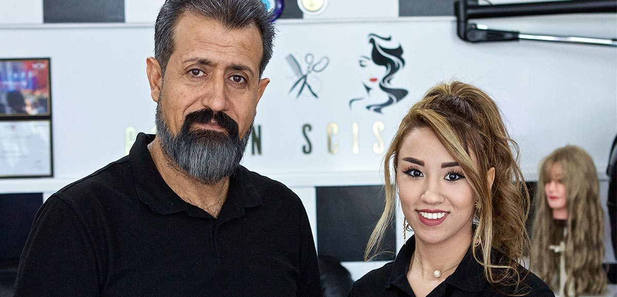 Sidra, former New Zealand Certificate in English Language (NZCEL) student, in her family hairdressing shop