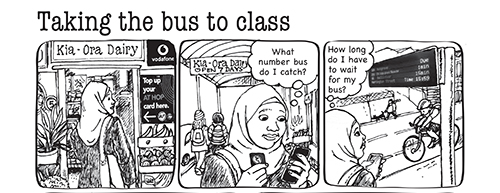 Taking the bus picture sequence