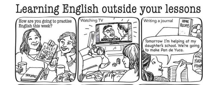 Learning English outside the classroom picture sequence