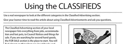 Reading the classifieds worksheet