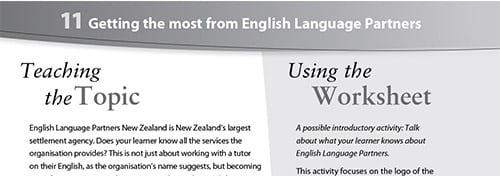 Getting the most from English Language Partners worksheet