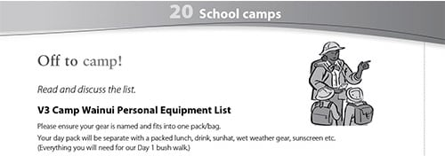 School camps worksheet
