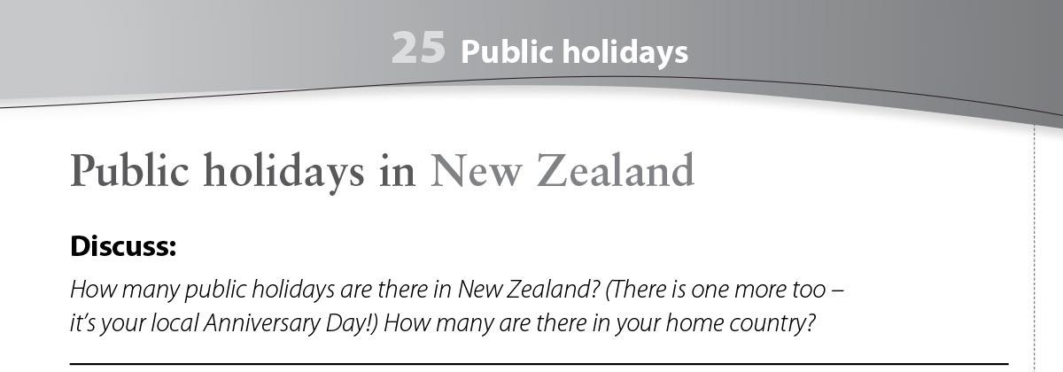 Public holidays worksheet