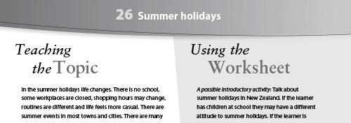 Summer holidays worksheet